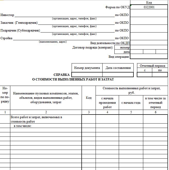 Справка о стоимости выполненных работ