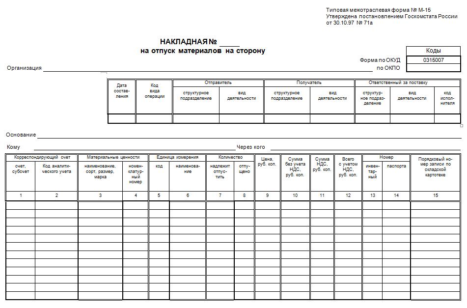 Бланк формы М-15