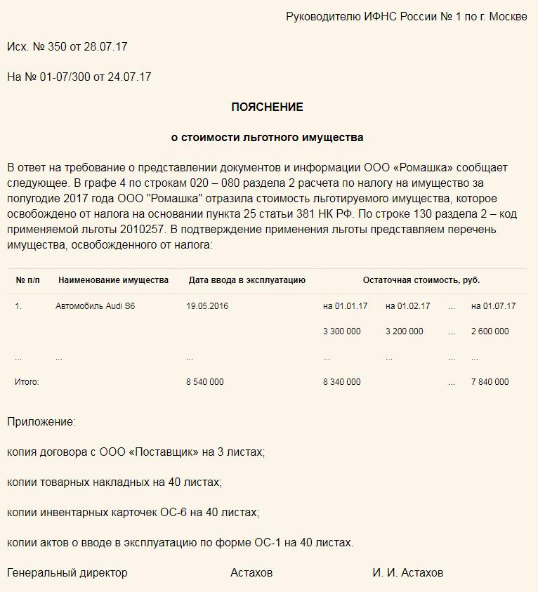 Пояснение о стоимости льготного имущества