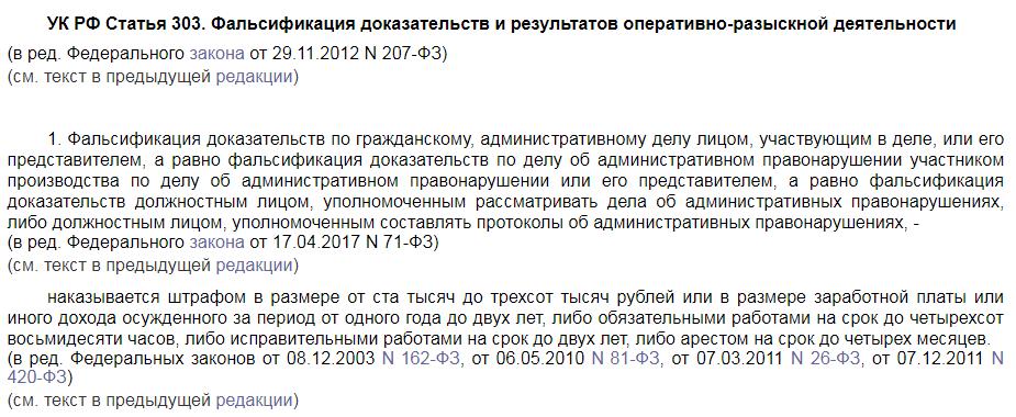 УК РФ статья 303