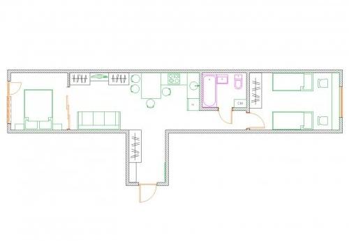 схема планировки квартиры распашенки