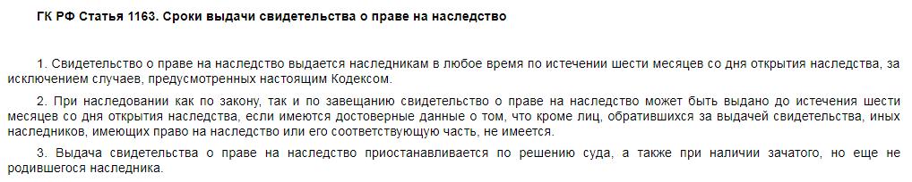 Статья 1163 ГК РФ