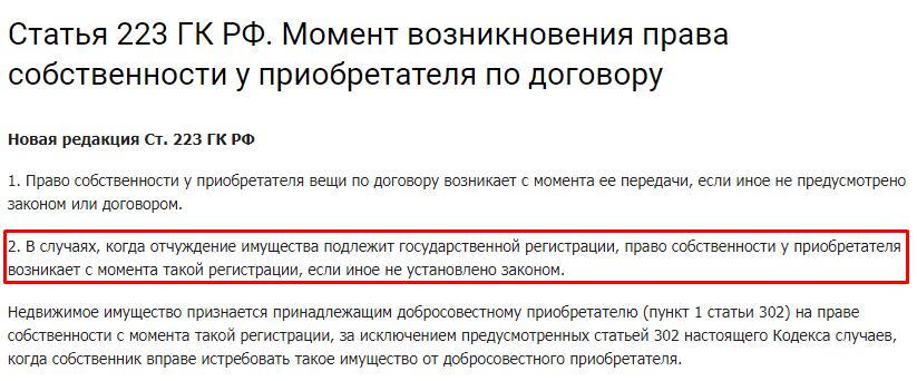 Статья 223 ГК РФ