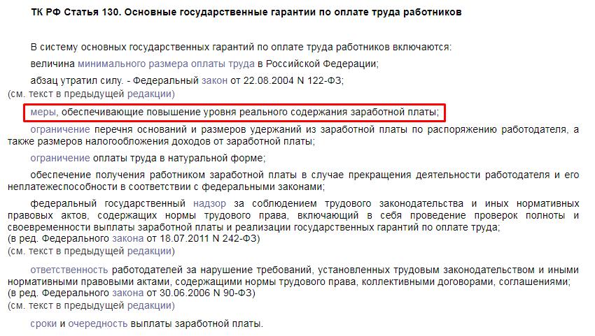 ТК РФ статья 130