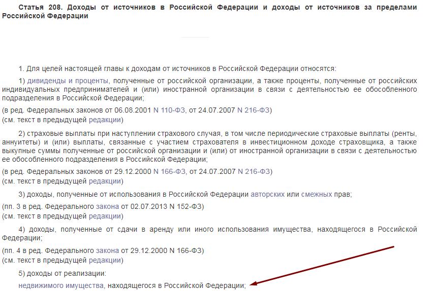 Статья 208 налогового кодекса РФ