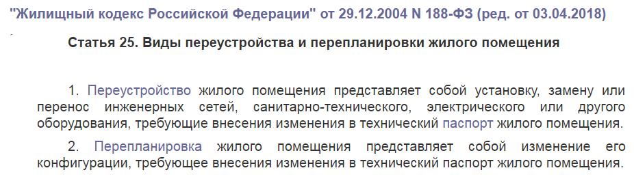 Статья 25 жилищного кодекса РФ