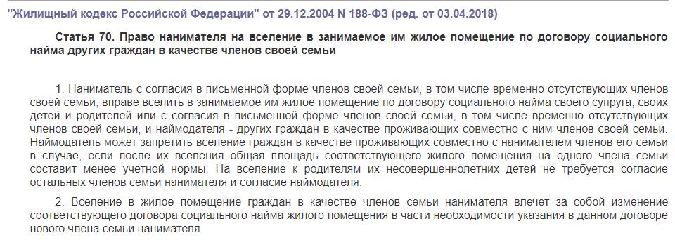 Статья 70 ЖК РФ