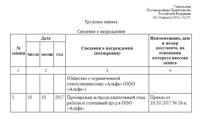 Информация о награждении в трудовой книжке