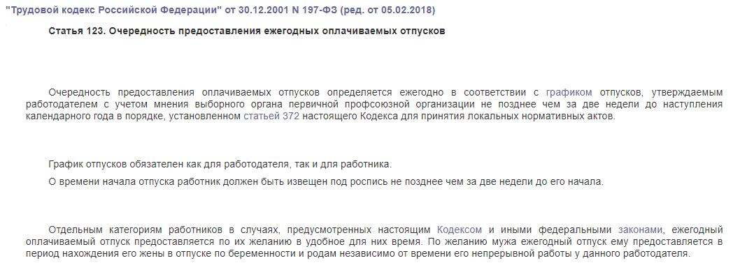 ТК РФ статья 123