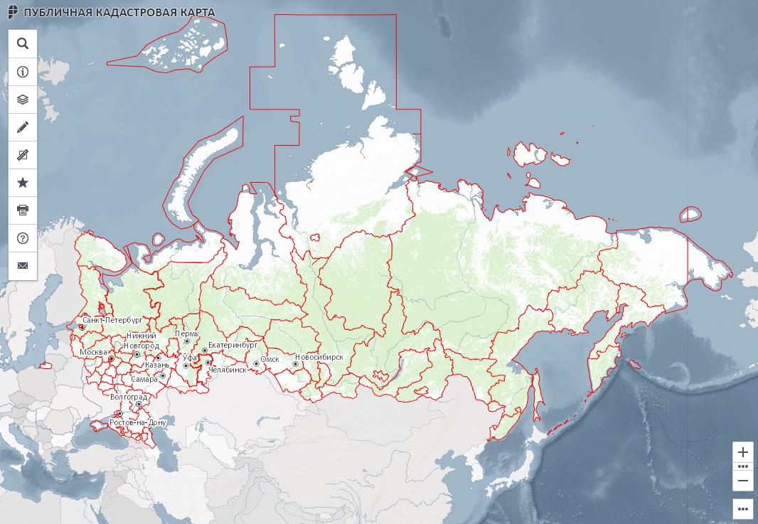 Выбор участка земли на кадастровой карте