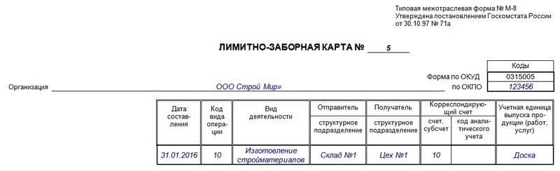 лимитно заборная карта образец заполнения