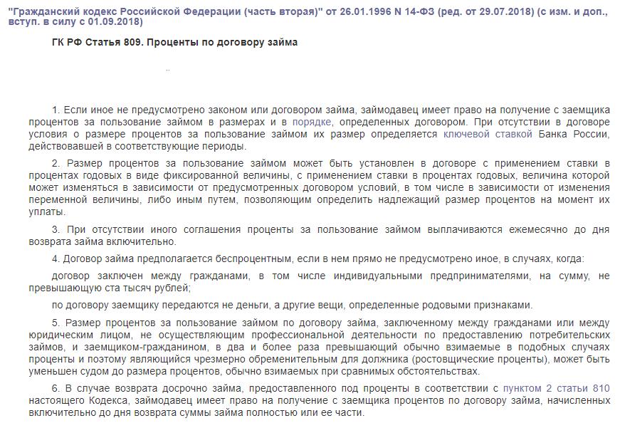 ГК РФ статья 809
