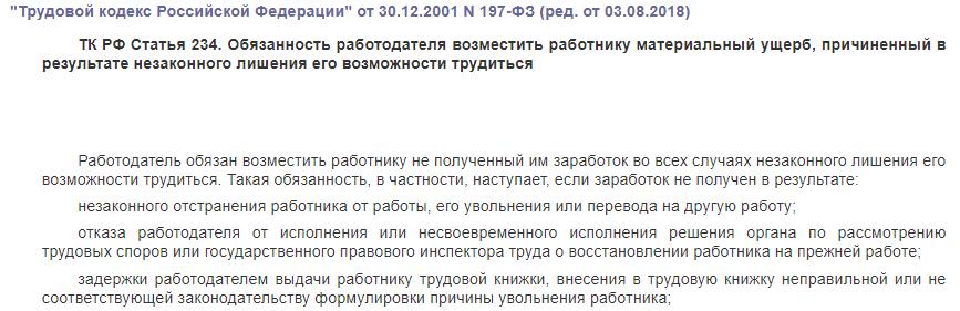 ТК РФ статья 234