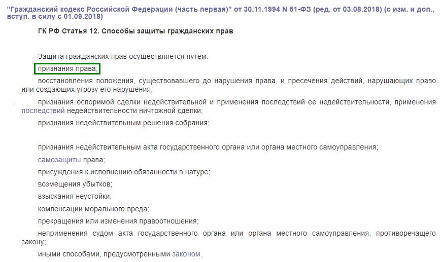 ГК РФ статья 12