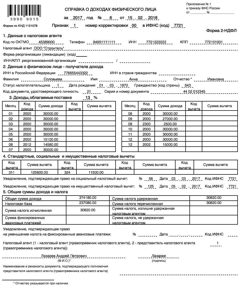 Образец справки о доходах по форме 2 Ндфл