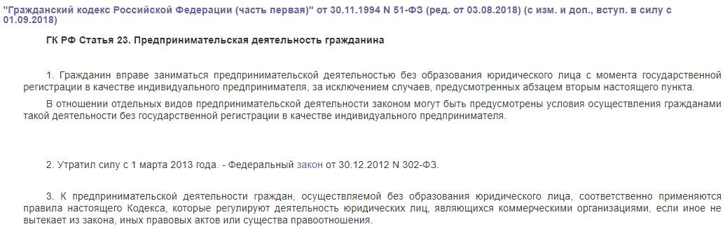 ГК РФ статья 23