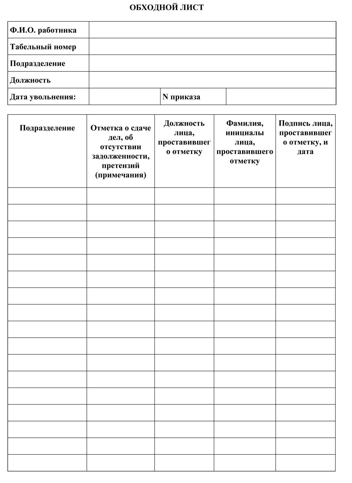 Пример обходного листа при увольнении работника