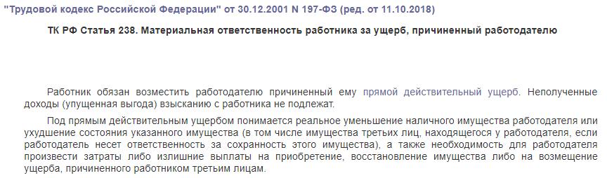 ТК РФ статья 238