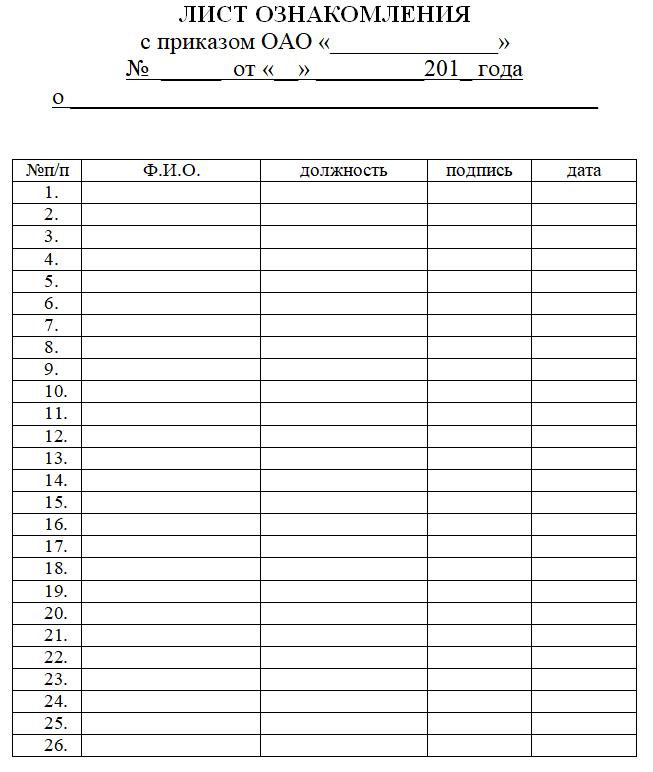 лист ознакомления с приказом образец