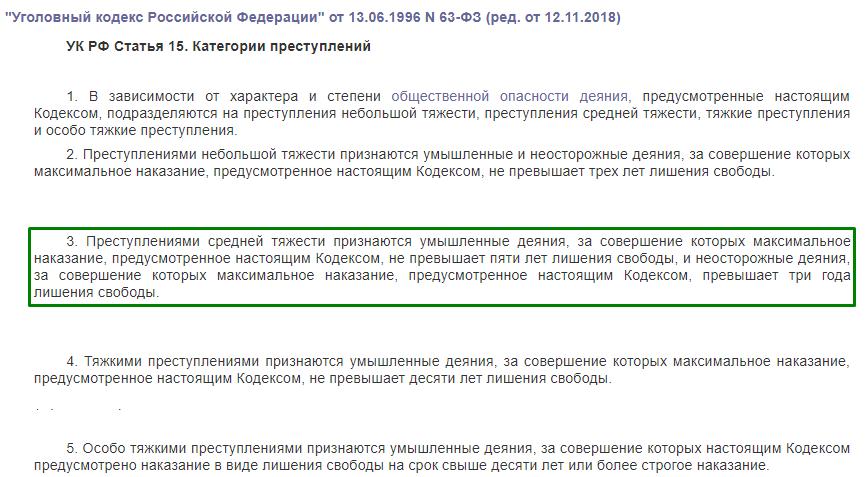 УК РФ статья 15 категории преступлений