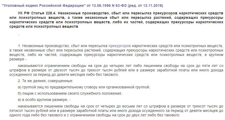 УК РФ статья 228.4