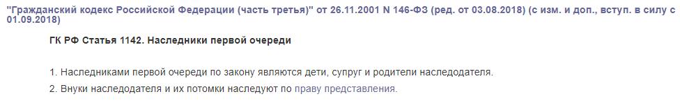 ГК РФ статья 1142
