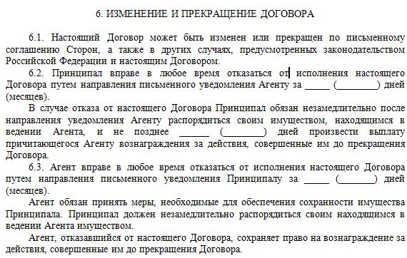 Порядок прекращения договора