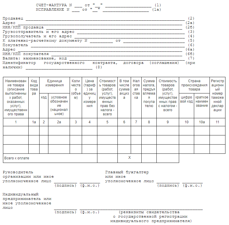 электронная счет фактура