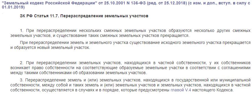 Статья 11.7 земельного кодекса перераспределение земельных участков