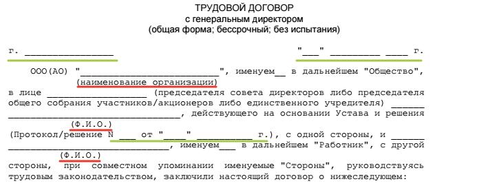 Преамбула к трудовому договору с генеральным директором