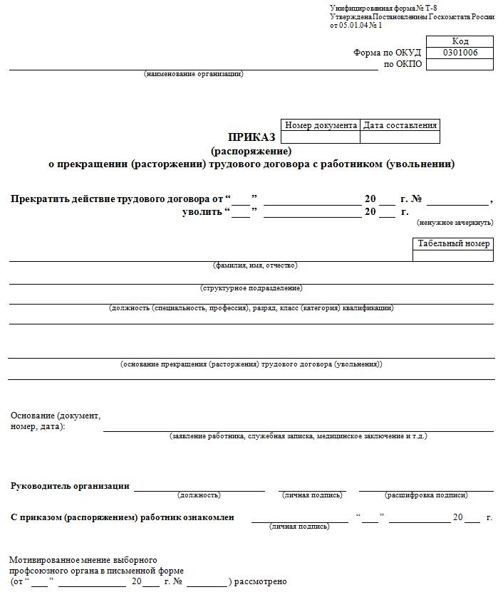 Образец приказа о расторжении договора