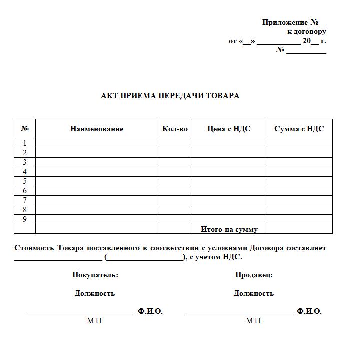 Акт приема-передачи товара | образец бланк форма 2018.