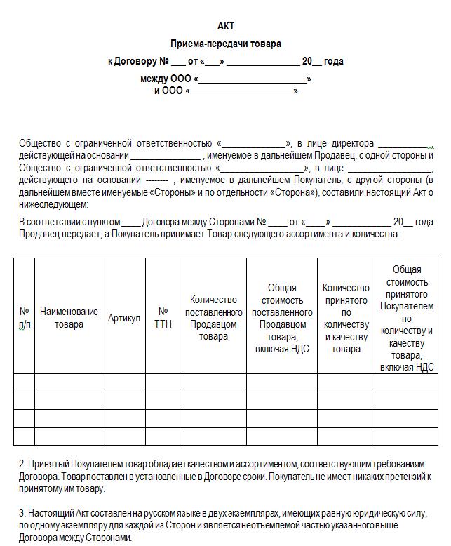Бланк акта приема передачи товара