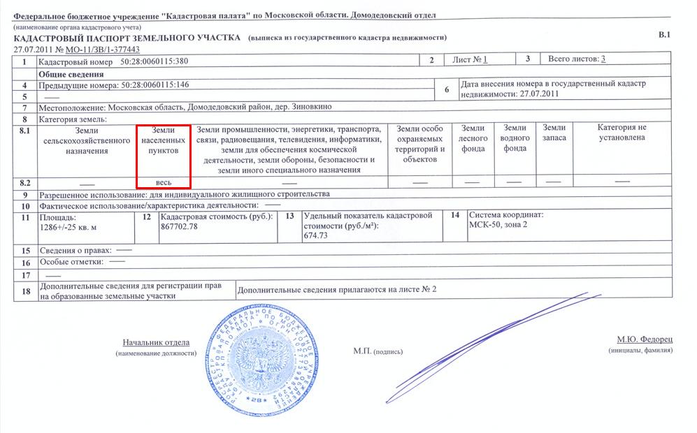 Категория земли в кадастровом паспорте