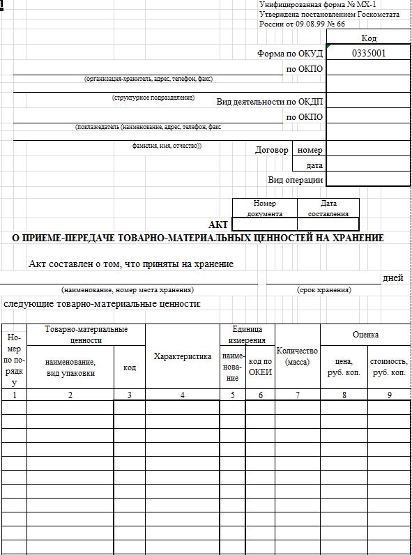 Образец в Excel
