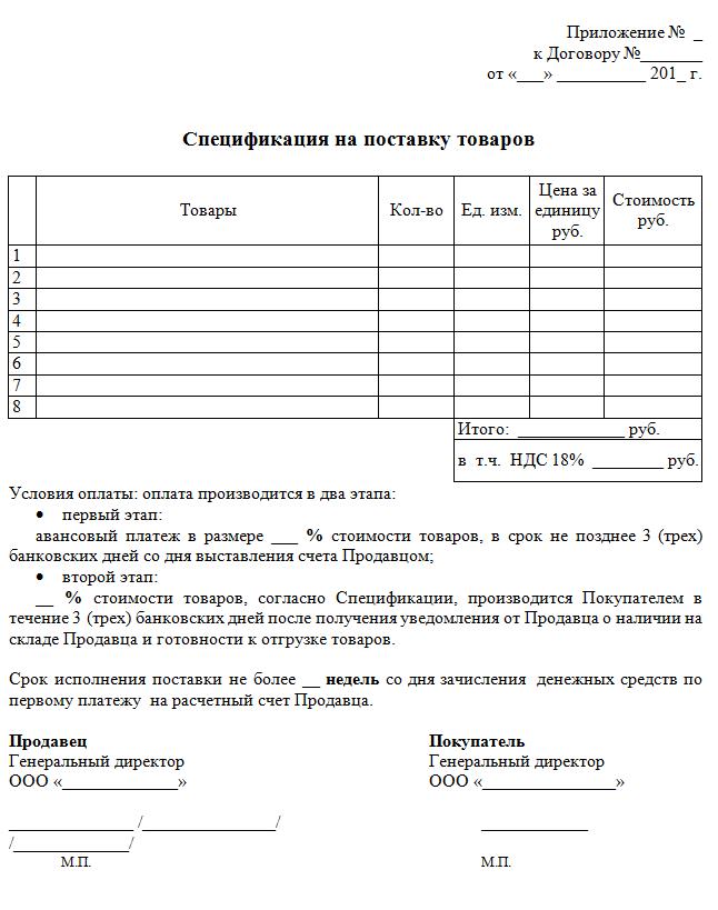 график оплаты поставляемого товара бланк