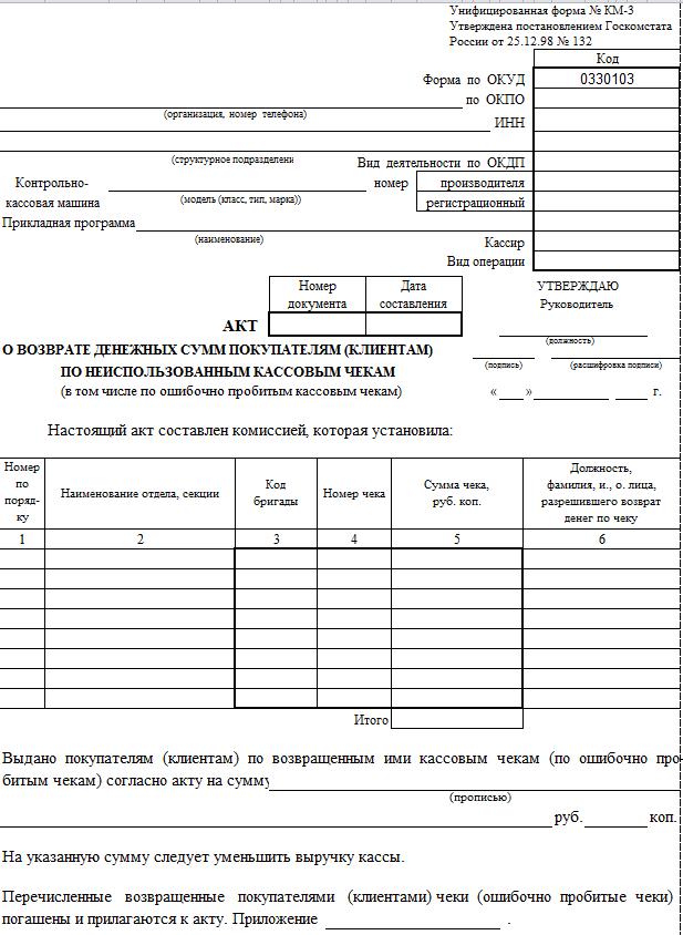 Бланк КМ-3