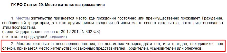 ГК РФ статья 20