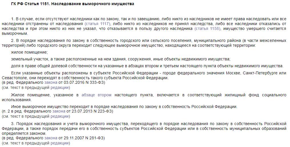 Статья 1151 ГК РФ