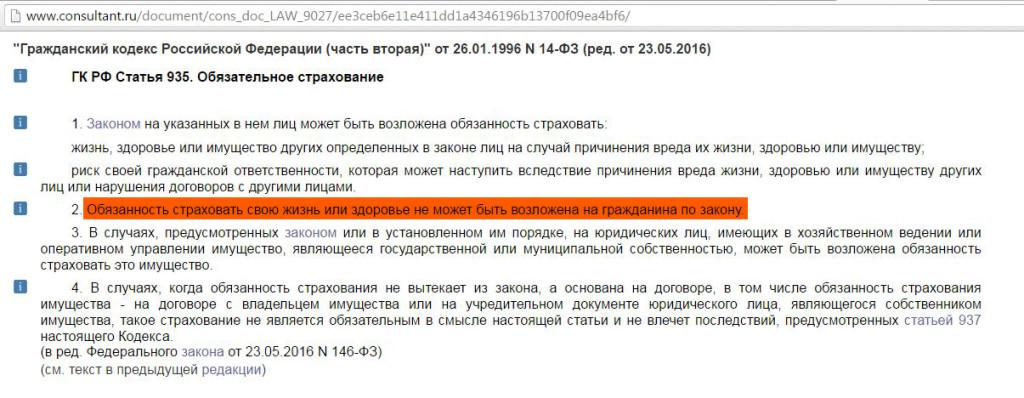 ГК РФ статья 935