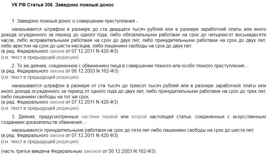 УК РФ статья 306 ложный донос