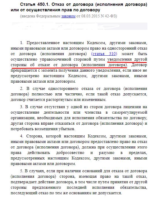 Статья 450.1 Отказ от договора