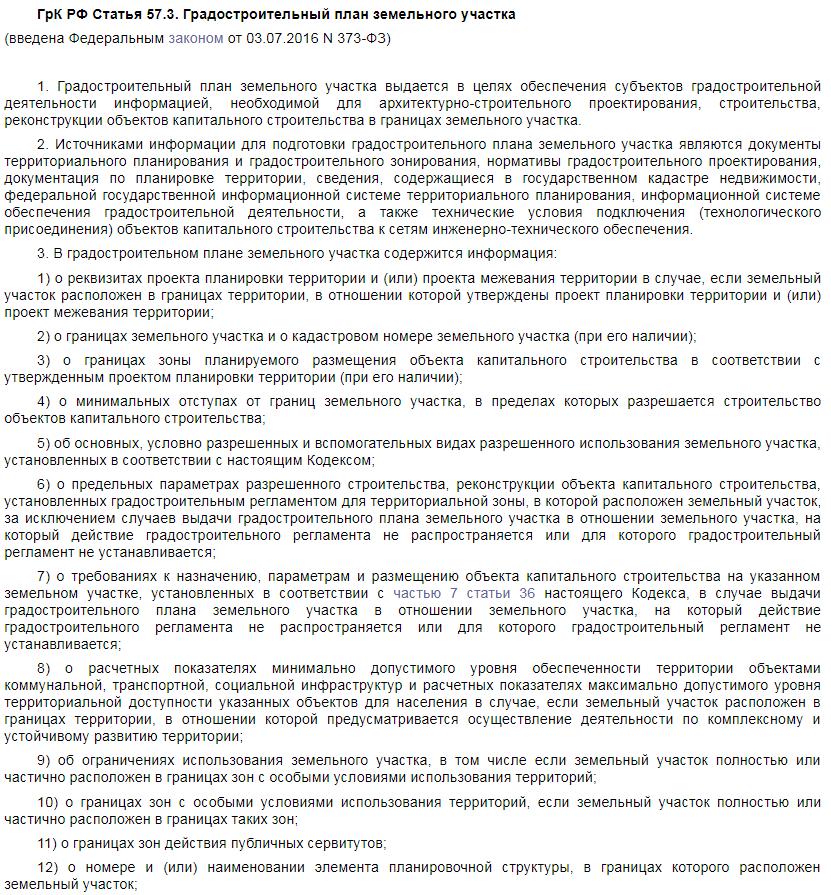 Градостроительный кодекс статья 57.3