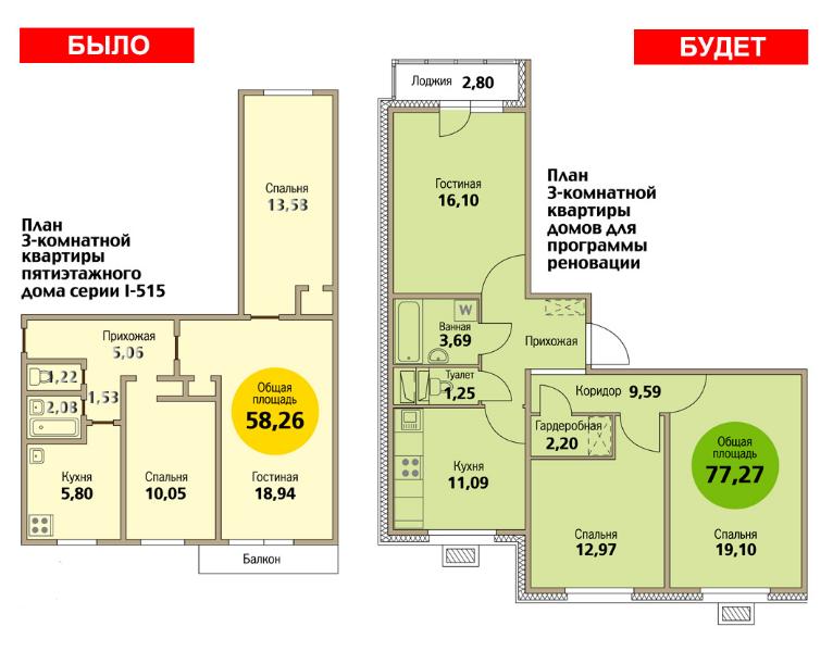 Пример планировки 3 ех комнатной квартиры