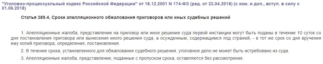 Статья 389.4 УПК РФ