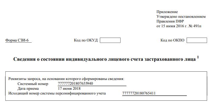 Актуальный документ о сумме накопленной пенсии
