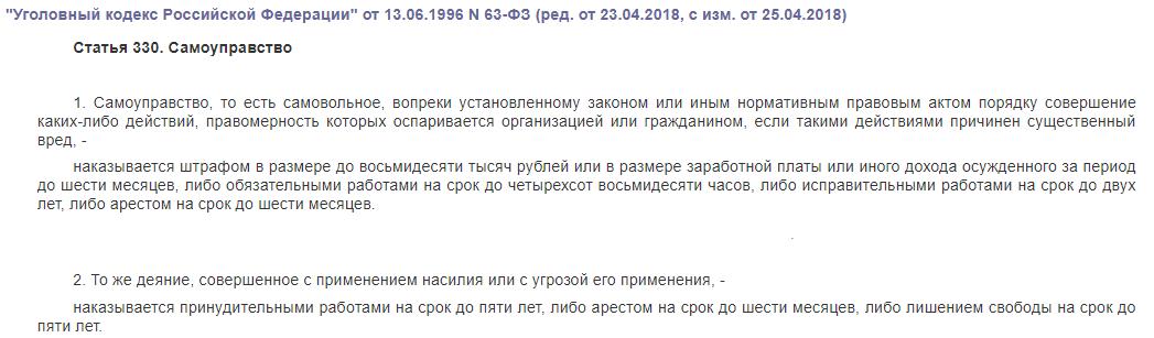 статья 330 ук рф