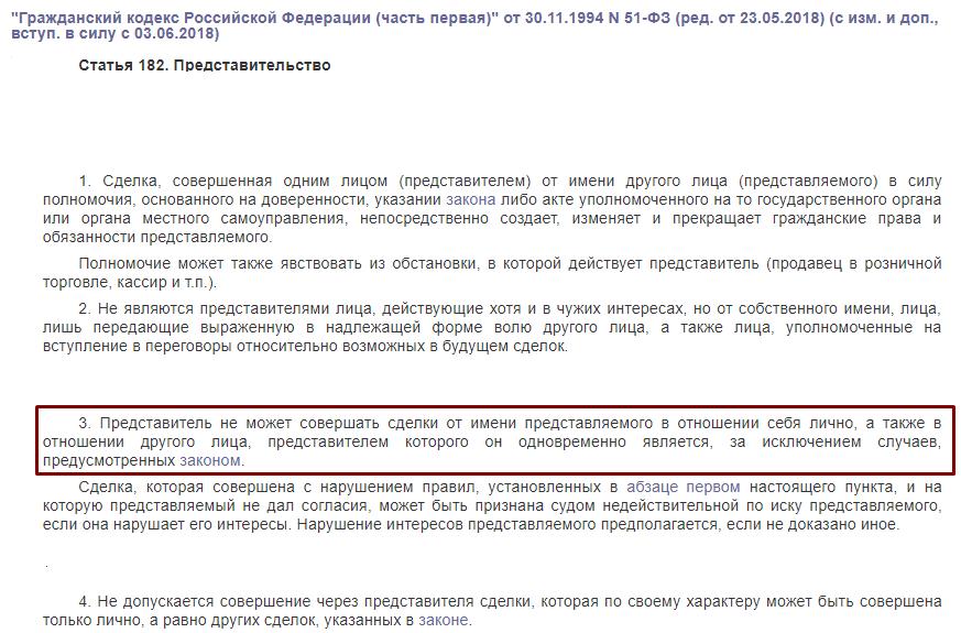 ГК РФ статья 182