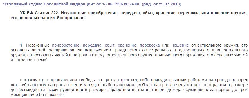 УК РФ статья 222