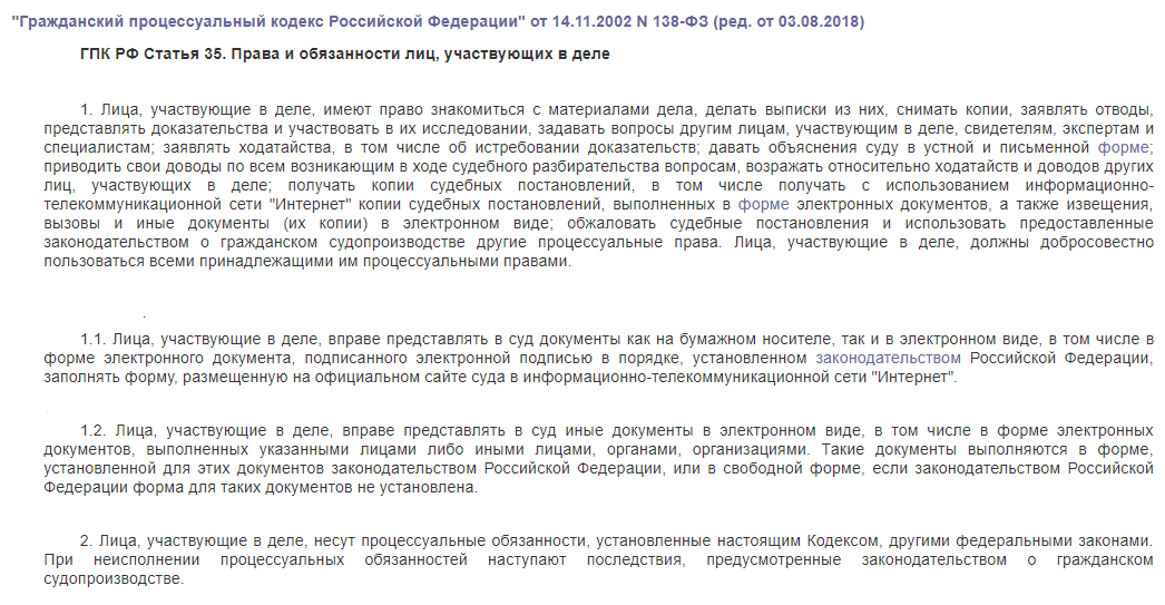 ГПК РФ статья 35